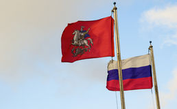 National flag of Russian Federation and Moscow Stock Image