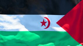 The national flag of Sahrawi Arab flutters in the wind