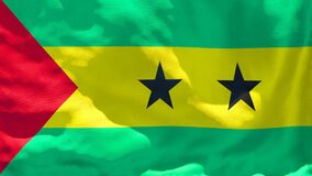 The national flag of Sao Tome And Principe flutters in the wind