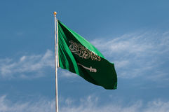 National flag of Saudi Arabia, in Madaîn Saleh Royalty Free Stock Photo