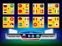 National Flag with Scoreboard Broadcast and Lower Thirds Template for Football tournament. Vector illustration Set of National Flag with Scoreboard Broadcast and Stock Photo