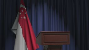 National flag of Singapore and speaker podium tribune. Political event or statement related conceptual 3D animation
