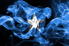 National flag of Somalia made from colored smoke isolated on black background.  royalty free stock photography