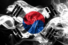National flag of South Korea made from colored smoke isolated on black background royalty free stock photography