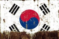 National flag of South Korea on metal texture. National flag of South Korea on rusty metal texture stock photos
