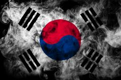 National flag of South Korea from thick colored smoke. On a black isolated background stock photo