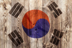 National flag of South Korea, wooden background. National flag of South Korea on wooden background stock image