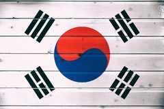 National flag of South Korea. On a wooden background stock photography
