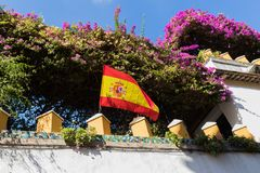 The national flag of Spain is exposed on the wall of a garden. The national flag of Spain is exposed on the wall of a flowering garden Stock Photography