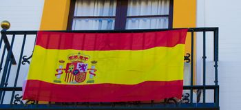 The national flag of Spain. Royalty Free Stock Photo