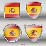 National Flag of Spain in 4 Shape collections. Jpeg File ready for Clipping Path, easy to isolate shape Stock Images