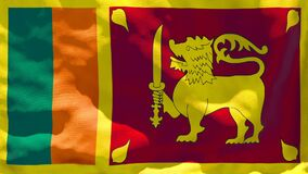 The national flag of Sri Lanka flutters in the wind