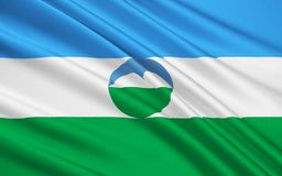 Flag of Republic of Kabardino-Balkaria, Russian Federation. The national flag subject of the Russian Federation - Republic of Kabardino-Balkaria, Nalchik Royalty Free Illustration