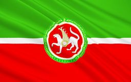 Flag of Republic of Tatarstan, Russian Federation. The national flag subject of the Russian Federation - Republic of Tatarstan, Kazan, Volga Federal District stock image