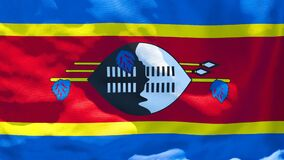 The national flag of Swaziland flutters in the wind