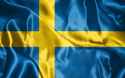 Sweden National Flag Waving in The Wind Illustration. National Flag Of Sweden in Blue And Yellow Colors  Illustration Stock Image