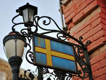 National flag of Sweden with lanterns Royalty Free Stock Photos