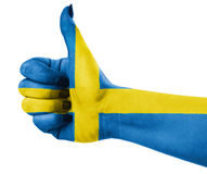 National flag of Sweden. Over hand Stock Photography