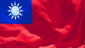 The national flag of Taiwan flutters in the wind