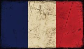 Vintage old flag of France. Art texture painted France national flag vector illustration