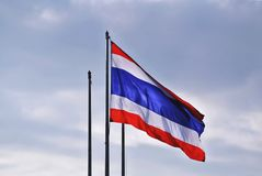 National Flag of Thailand In Blue Cloudy Sky. Flag of Thailand In Blue Cloudy Sky Stock Image