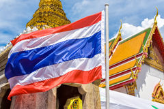 National flag of Thailand. National flag of Thailand  in buddhist temple Stock Photos