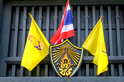 National flag of Thailand with flag and emblem of Thailand King Rama IX. Bangkok, Thailand Stock Images