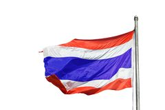 National flag of Thailand on a flagpole, vector illustration