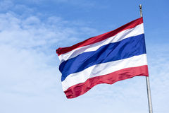 The national flag of Thailand. The national flag of kingdom fo Thailand,kingdom of Thailand national flag with the sky royalty free stock image