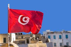 National Flag of Tunisia royalty free stock photography