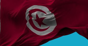 National Flag of  Tunisia waving in the wind slow motion. Seamless Loop Animation stock footage