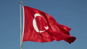 National flag of Turkey. Against a blue sky stock video