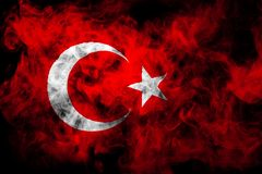 National flag of Turkey from thick colored smoke royalty free stock photography