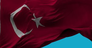 National Flag of  Turkey waving in the wind slow motion. Seamless Loop Animation stock video footage