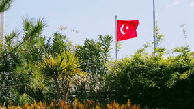 National flag of turkey. Waving in the wind in sunny day with sky and trees on the background stock video footage