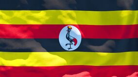 The national flag of Uganda flutters in the wind