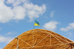 The national flag of Ukraine on the roof Royalty Free Stock Photos