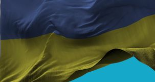 National Flag of  Ukraine waving in the wind slow motion. Seamless Loop Animation stock video footage
