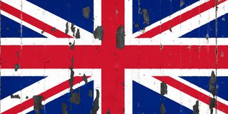 National flag of United Kingdom on the background of an old met. Tale covered with peeling paint stock illustration