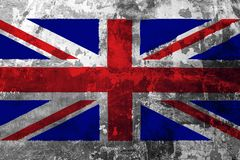 National flag of United Kingdom on the background of the old wall. Covered with peeling paint royalty free illustration