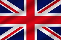 National flag of United Kingdom. On wavy cotton fabric. Realistic vector illustration stock illustration