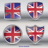 National Flag of United Kingdom in 4 Shape collections. Jpeg file ready with Clipping Path, easy to  Shape Stock Image