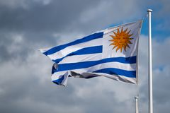 Dramatic stripey Uruguyan flag with stormy clouds in background. National flag of Uruguay blowing in the wind with blue sky in background Royalty Free Stock Photography