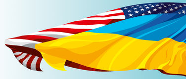 The national flag of the USA and Ukraine. The national flag of the United States of America and Ukraine Royalty Free Stock Image