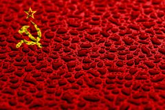 National flag of USSR made of water drops. Background forecast concept stock image