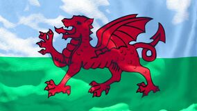 The national flag of Wales flutters in the wind