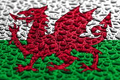 National flag of Wales made of water drops. Background forecast concept royalty free stock image