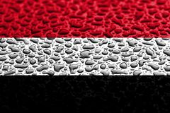 National flag of Yemen made of water drops. Background forecast concept stock images