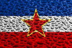 National flag of Yugoslavia made of water drops. Background forecast concept stock image