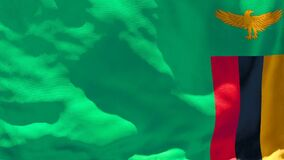 The national flag of Zambia flutters in the wind